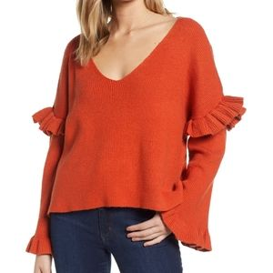NWOT Cupcakes & Cashmere   Ruffle slouchy sweater